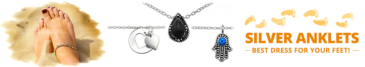 Silver Anklets with chain