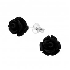 Rose - 925 Sterling Silver + Plastic Colorful ear studs for kids A4S10017