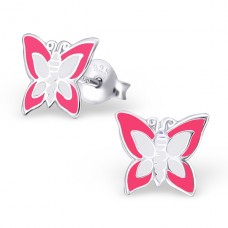 Butterfly - 925 Sterling Silver Colorful ear studs for kids A4S10391