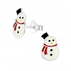 Snowman - 925 Sterling Silver Colorful ear studs for kids A4S10397