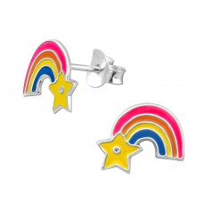 Rainbow - 925 Sterling Silver Colorful ear studs for kids A4S11643