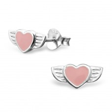 Winged Heart - 925 Sterling Silver Colorful ear studs for kids A4S11645