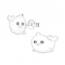 Seal - 925 Sterling Silver Colorful ear studs for kids A4S11745