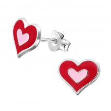 Heart - 925 Sterling Silver Colorful ear studs for kids A4S11750