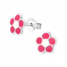 Flower - 925 Sterling Silver Colorful ear studs for kids A4S11924