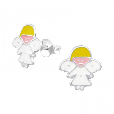 Angel - 925 Sterling Silver Colorful ear studs for kids A4S12754