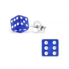 Dice - 925 Sterling Silver + Plastic Colorful ear studs for kids A4S13125