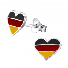 Germany Heart - 925 Sterling Silver Colorful ear studs for kids A4S13275