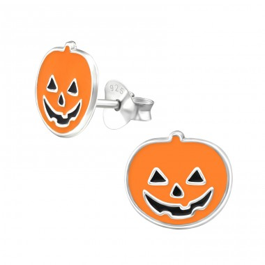Pumpkin - 925 Sterling Silver Colorful ear studs for kids A4S13278
