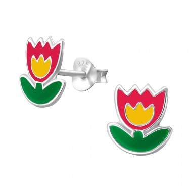 Flower - 925 Sterling Silver Colorful ear studs for kids A4S13281