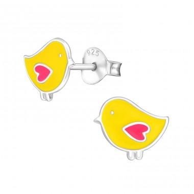 Chick - 925 Sterling Silver Colorful ear studs for kids A4S13284