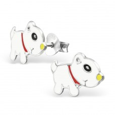 Dog - 925 Sterling Silver Colorful ear studs for kids A4S13289