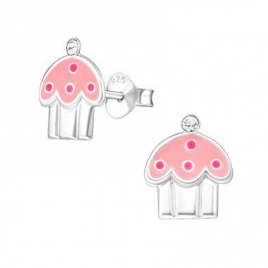Cupcake - 925 Sterling Silver Ear studs with enamel colors A4S13428