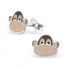 Monkey - 925 Sterling Silver Colorful ear studs for kids A4S13577
