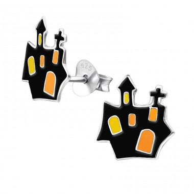 Castle - 925 Sterling Silver Colorful ear studs for kids A4S13635