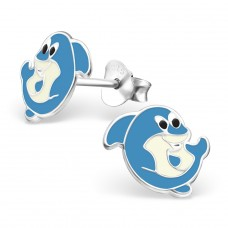 Shark - 925 Sterling Silver Colorful ear studs for kids A4S13734