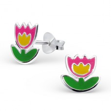 Flower - 925 Sterling Silver Colorful ear studs for kids A4S14147
