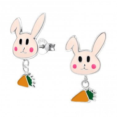 Rabbit And Hanging Carrot - 925 Sterling Silver Colorful ear studs for kids A4S14176