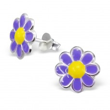 Flower - 925 Sterling Silver Colorful ear studs for kids A4S15182