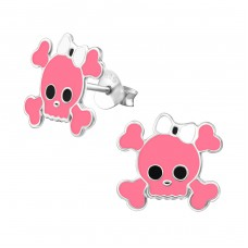 Skull - 925 Sterling Silver Colorful ear studs for kids A4S15498