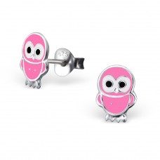 Owl - 925 Sterling Silver Colorful ear studs for kids A4S15956