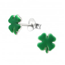 Clover - 925 Sterling Silver Colorful ear studs for kids A4S16189