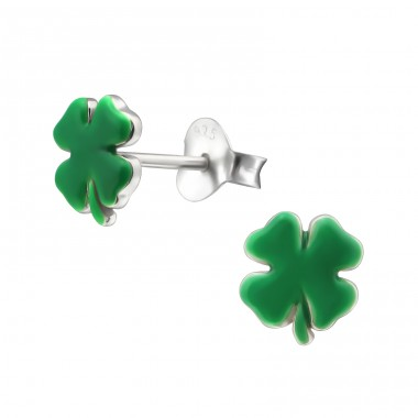 Clover - 925 Sterling Silver Ear studs with enamel colors A4S16189