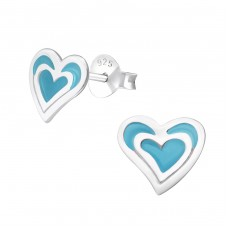Heart - 925 Sterling Silver Colorful ear studs for kids A4S16263