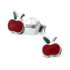 Apple - 925 Sterling Silver Colorful ear studs for kids A4S16758