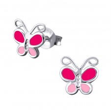 Butterfly - 925 Sterling Silver Colorful ear studs for kids A4S16912