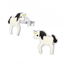 Unicorn - 925 Sterling Silver Colorful ear studs for kids A4S17257