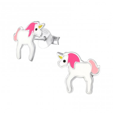 Unicorn - 925 Sterling Silver Colorful ear studs for kids A4S17258