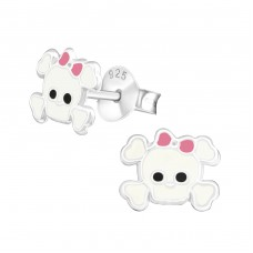 Skull - 925 Sterling Silver Colorful ear studs for kids A4S17263