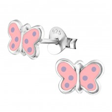 Butterfly - 925 Sterling Silver Colorful ear studs for kids A4S17362