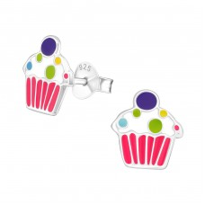 Cupcake - 925 Sterling Silver Colorful ear studs for kids A4S17678
