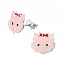 Cat - 925 Sterling Silver Colorful ear studs for kids A4S17698