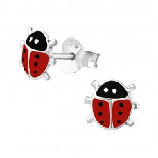 Ladybug - 925 Sterling Silver Colorful ear studs for kids A4S17704