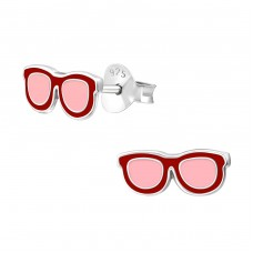 Sun Glasses - 925 Sterling Silver Colorful ear studs for kids A4S17794