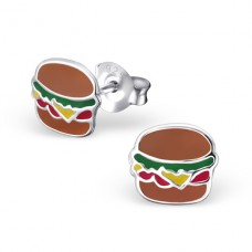 Hamburger - 925 Sterling Silver Colorful ear studs for kids A4S17796