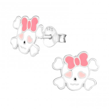 Skull - 925 Sterling Silver Colorful ear studs for kids A4S17804