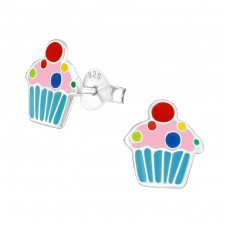 Cupcake - 925 Sterling Silver Colorful ear studs for kids A4S18037