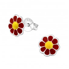 Flower - 925 Sterling Silver Colorful ear studs for kids A4S18669