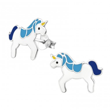 Unicorn - 925 Sterling Silver Colorful ear studs for kids A4S18688