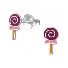 Lollipop - 925 Sterling Silver Colorful ear studs for kids A4S18700