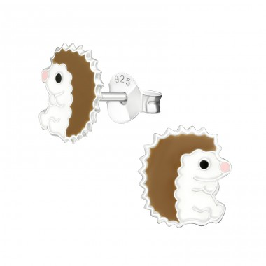Hedgehog - 925 Sterling Silver Colorful ear studs for kids A4S18715