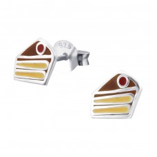 Cake - 925 Sterling Silver Colorful ear studs for kids A4S18731