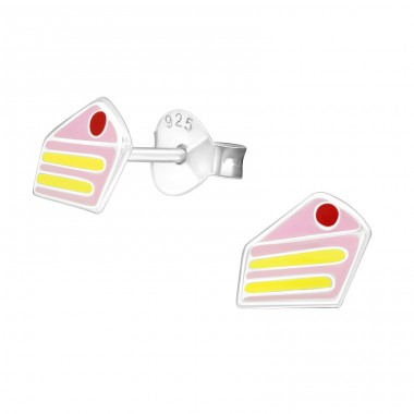 Cake - 925 Sterling Silver Colorful ear studs for kids A4S18732