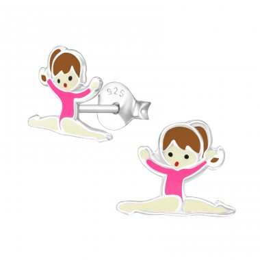 Gymnastics Girl - 925 Sterling Silver Colorful ear studs for kids A4S18747