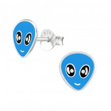 Alien - 925 Sterling Silver Colorful ear studs for kids A4S18855