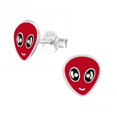 Alien - 925 Sterling Silver Colorful ear studs for kids A4S18856